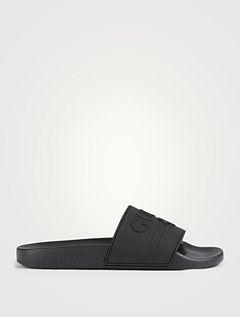 GUCCI Pursuit Pool Slides With Embossed Logo Women's Black