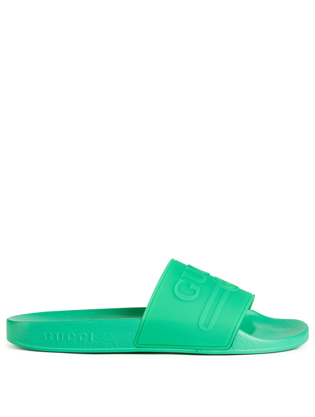 6fc23bff3 GUCCI Pursuit Pool Slides With Embossed Logo Womens Green ...