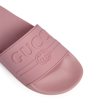 GUCCI Pursuit Pool Slides With Embossed Logo Women's Pink