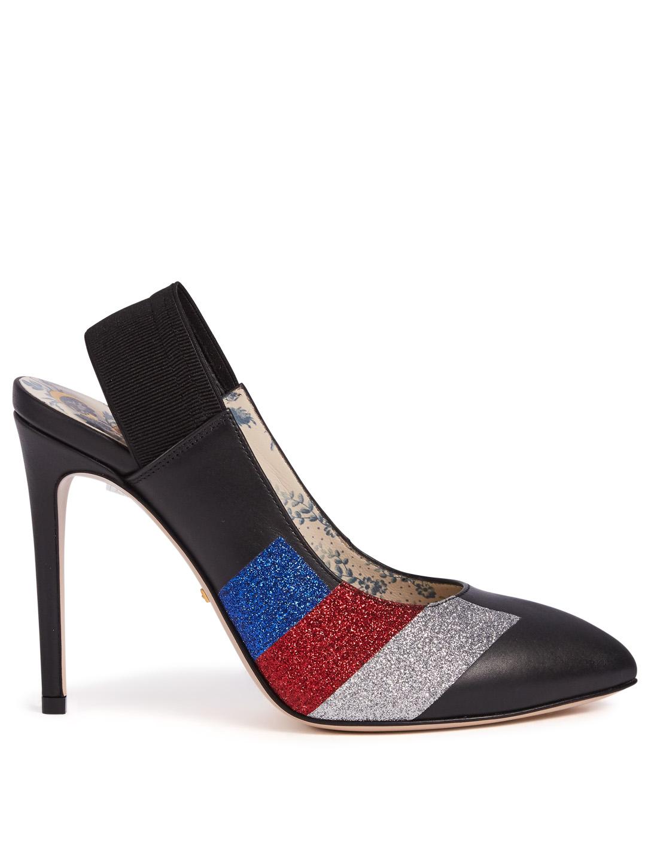 eda0f042514 GUCCI Sylvie Leather Slingback Pumps With Glitter Stripe Womens Black ...