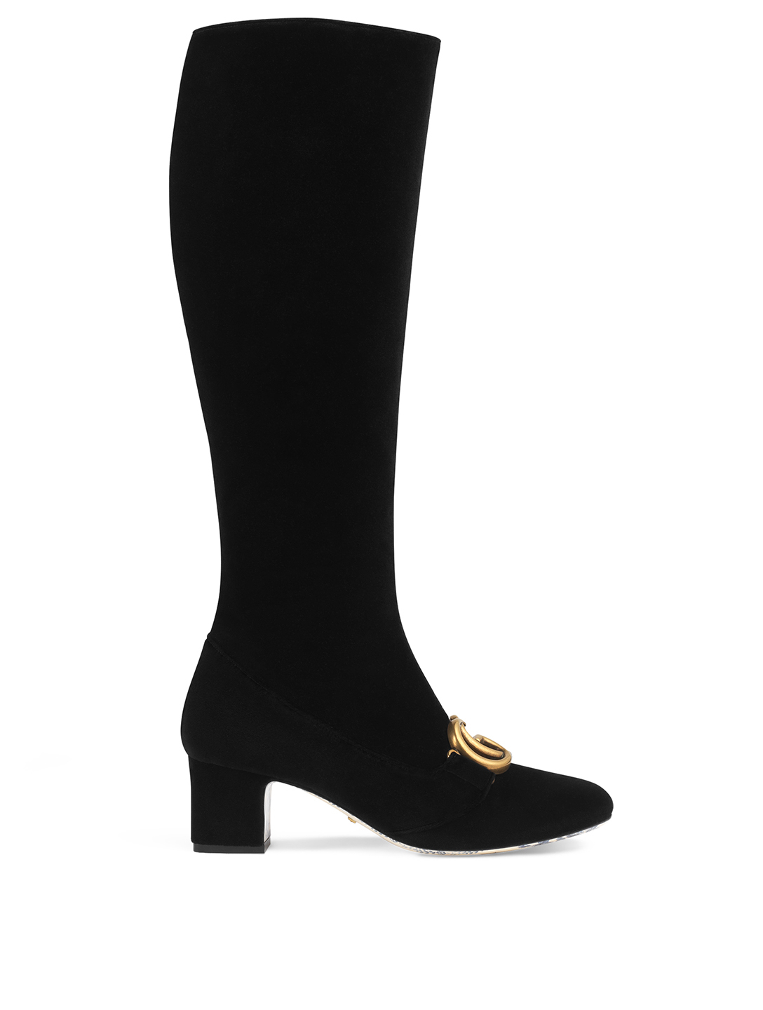GUCCI Victoire Velvet Knee-High Boots Womens Black