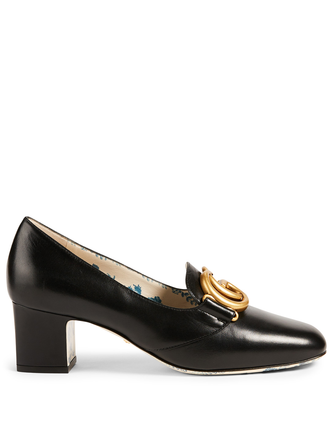 GUCCI Victoire Leather Pumps With Double G Women's Black