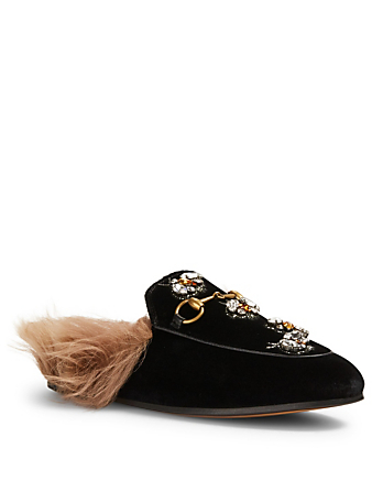 GUCCI Princetown Velvet Slippers With Lambswool Designers Black