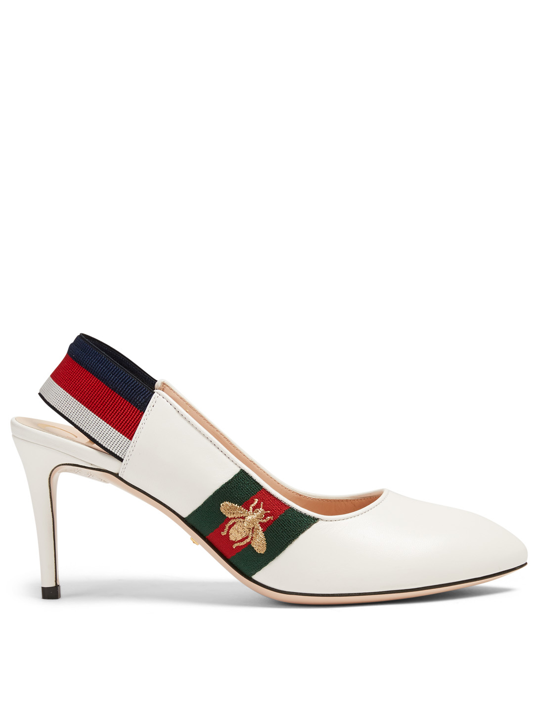 GUCCI Sylvie Leather Slingback Pumps Womens White