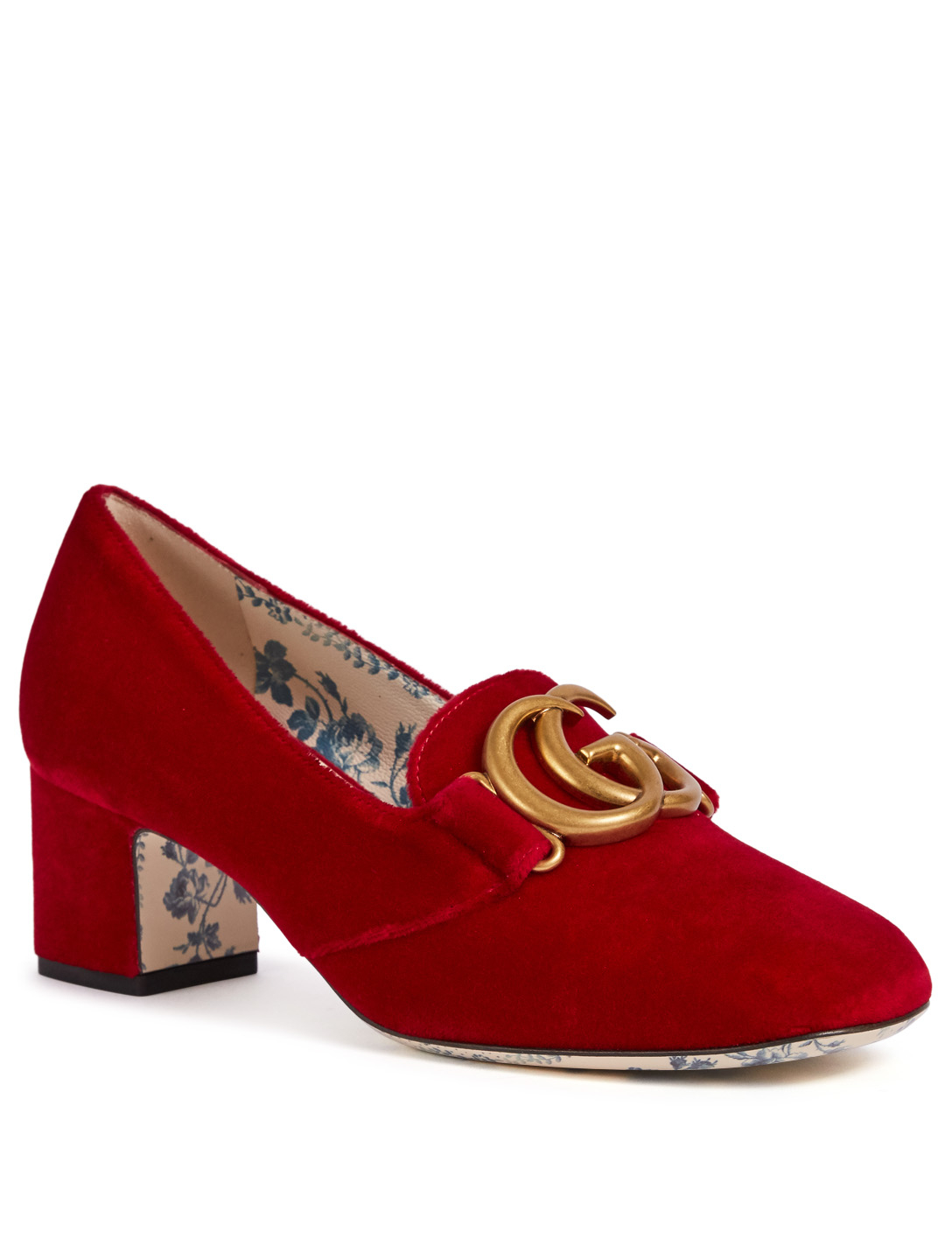 GUCCI Victoire Velvet Pumps Designers Red