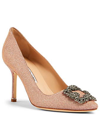 MANOLO BLAHNIK Hangisi 90 Pumps With Crystal Buckle Women's Neutral