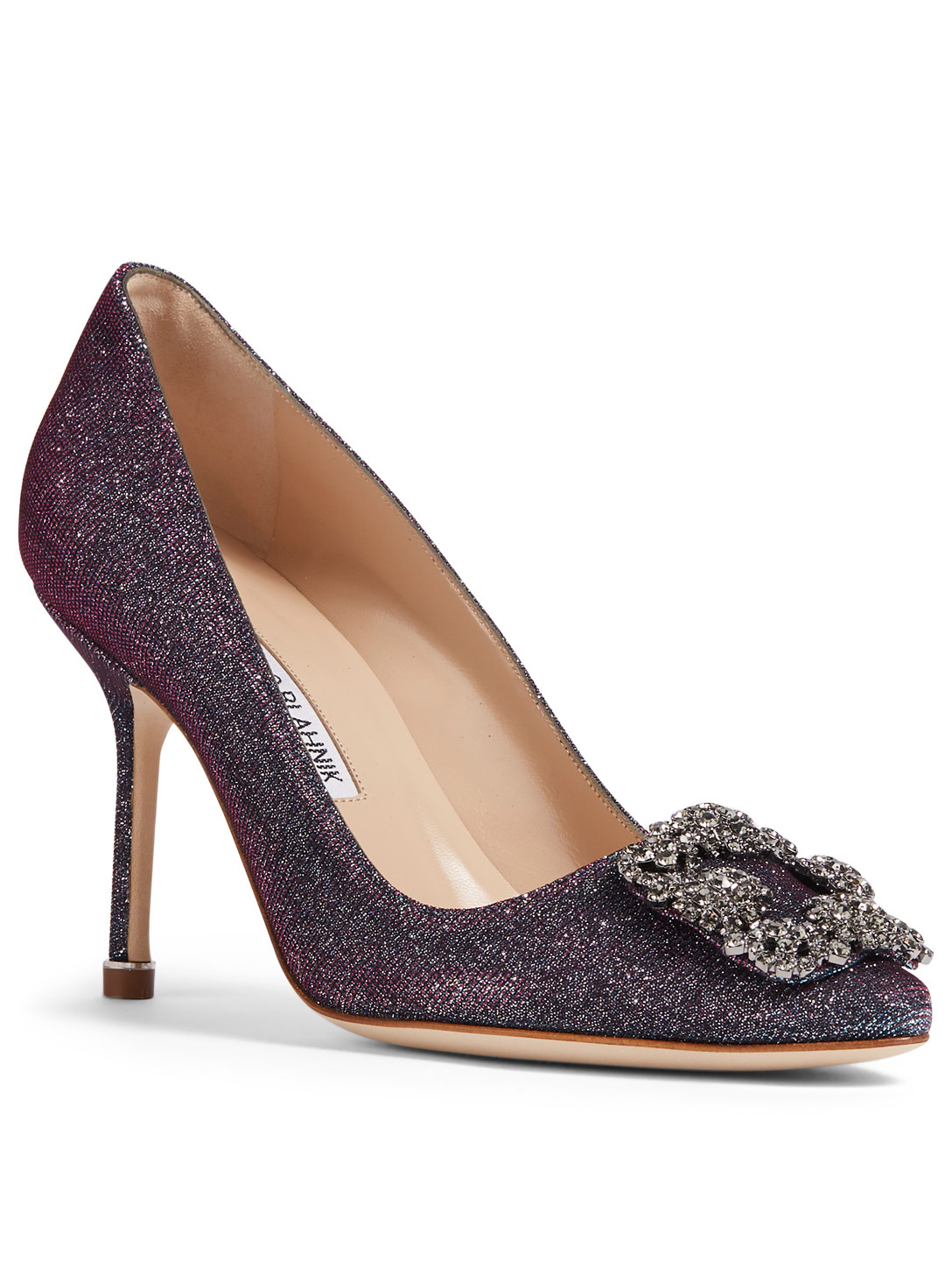 MANOLO BLAHNIK Hangisi 90 Pumps With Crystal Buckle Women's Purple