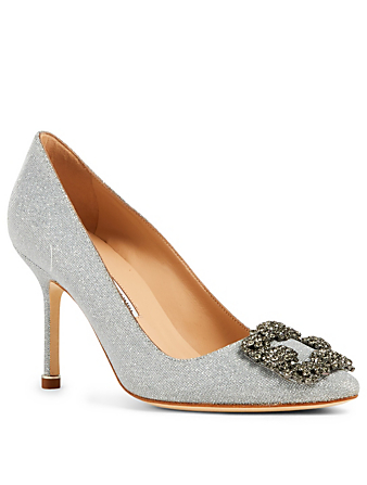 MANOLO BLAHNIK Hangisi 90 Pumps With Crystal Buckle Women's Silver