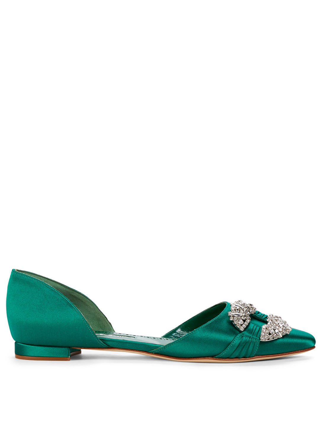 128437495aa12 ... denmark manolo blahnik luanda satin flats with crystal buckle womens  green 7260b da0b9