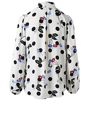 RIXO Moss Silk Neck-Tie Blouse In Diana Floral Print Women's White