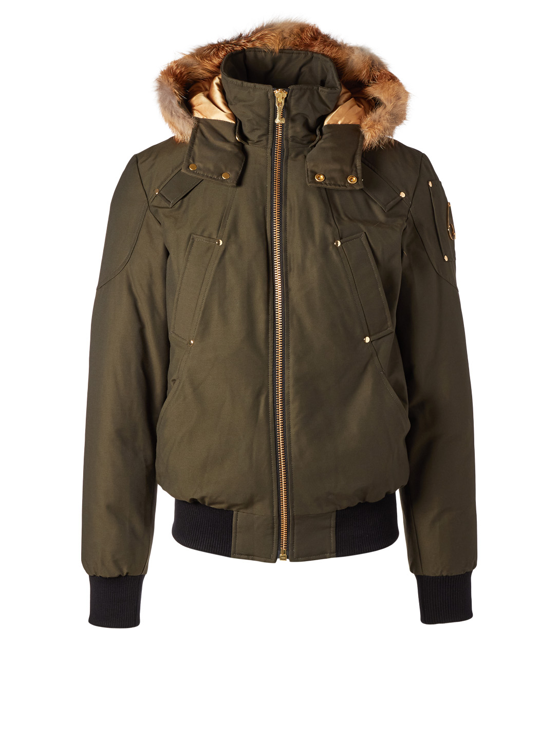 MOOSE KNUCKLES Down Bomber Jacket With Fur Trim Men's Green