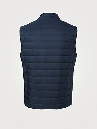 ELEVENTY Nylon Brushed Zip Vest Men's Blue