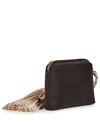 THE ROW Large Silk Wristlet Clutch With Tassel Womens Black