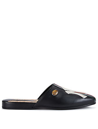 GUCCI Flamel Leather Mules With NY Logo Womens Black