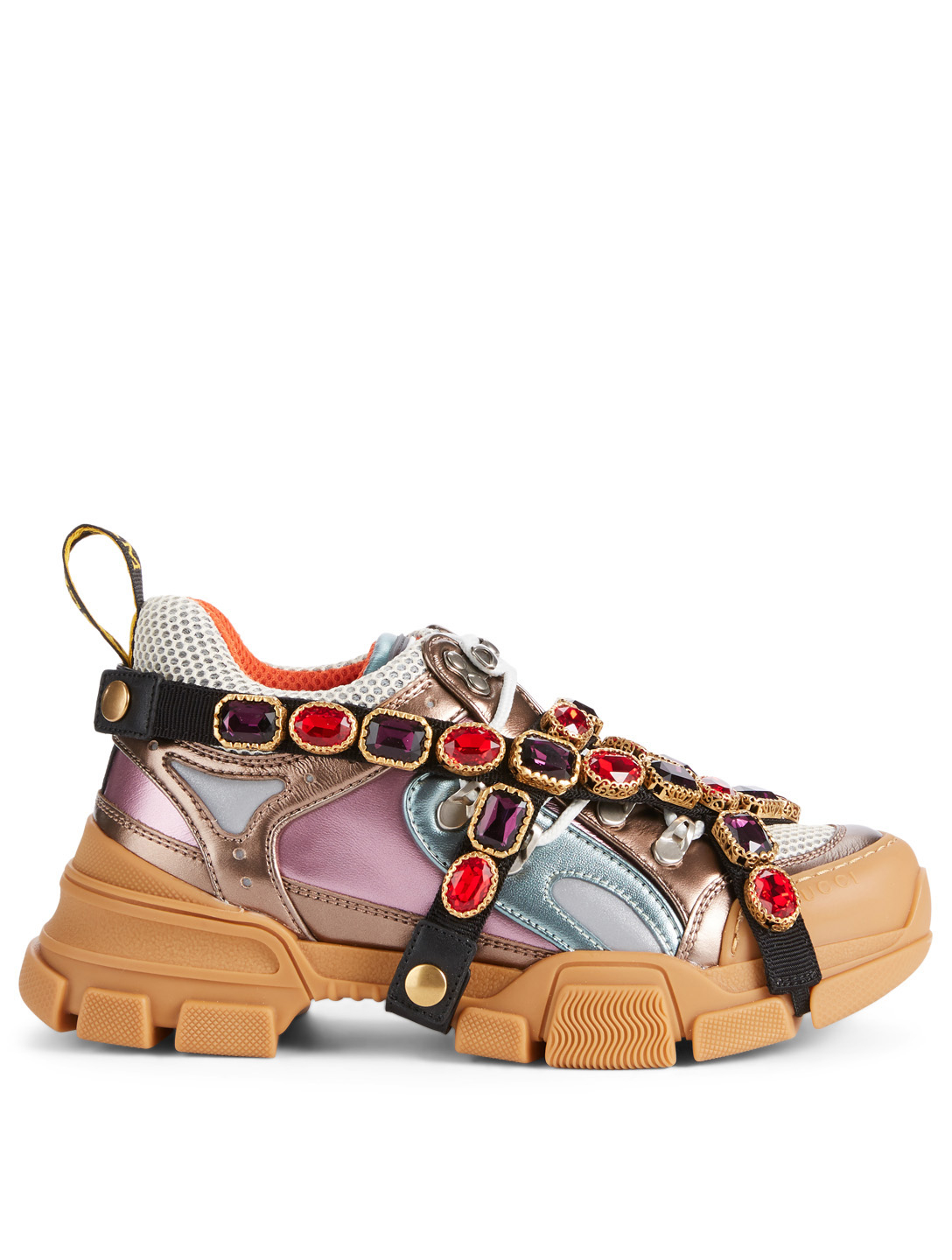 GUCCI Flashtrek Hiker Sneakers With Removable Crystal Straps Women's Multi