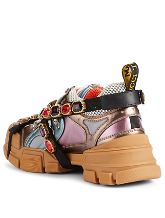 GUCCI Flashtrek Hiker Sneakers With Removable Crystal Straps Womens Multi