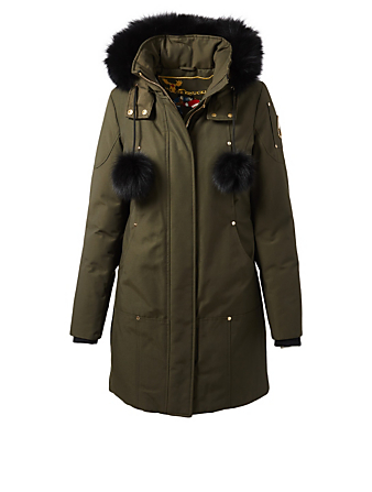 MOOSE KNUCKLES Governor Lake Parka With Fur Trim Womens Green