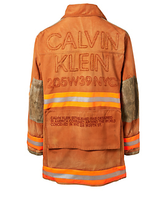 CALVIN KLEIN 205W39NYC Distressed Fireman Jacket Men's Neutral