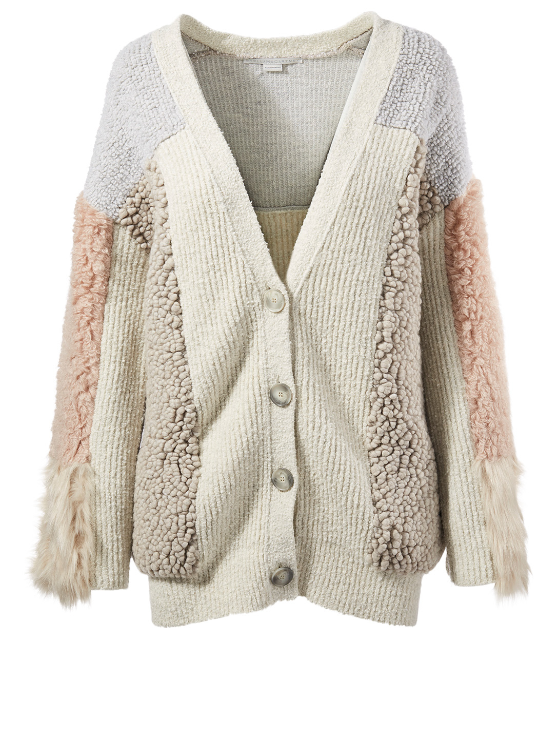 STELLA MCCARTNEY Faux Fur Patchwork Cardigan Women's White
