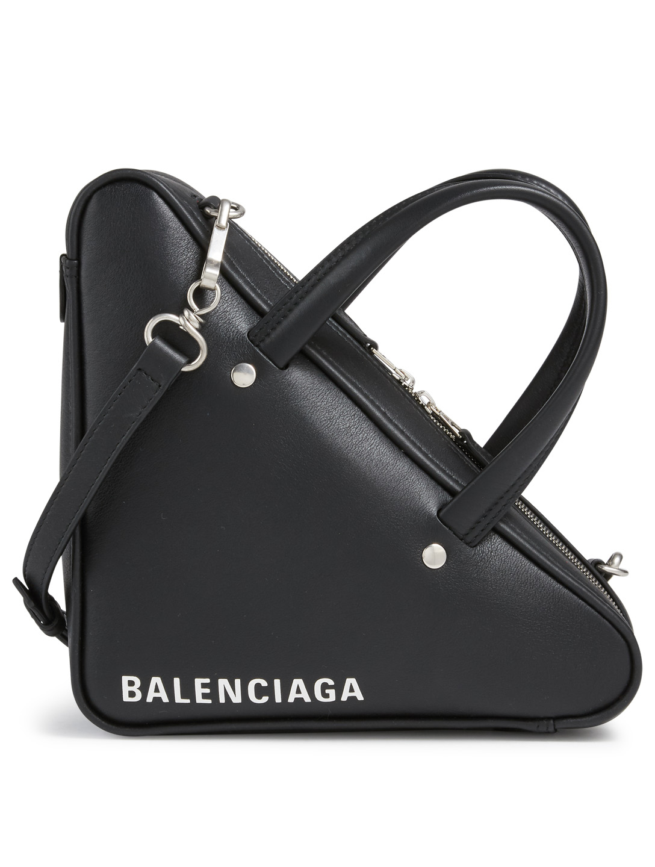2869090b6 BALENCIAGA Extra Small Triangle Leather Duffle Bag Women's Black ...
