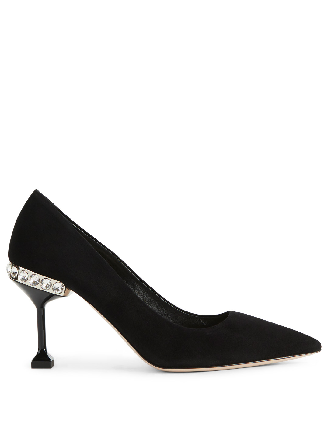 MIU MIU Suede Pumps With Jewelled Heel Womens Black