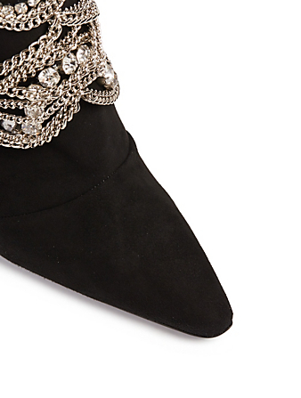 5d79354d810d7 ... GIUSEPPE ZANOTTI Notte 105 Suede Heeled Boots With Crystal Chains  Womens Black