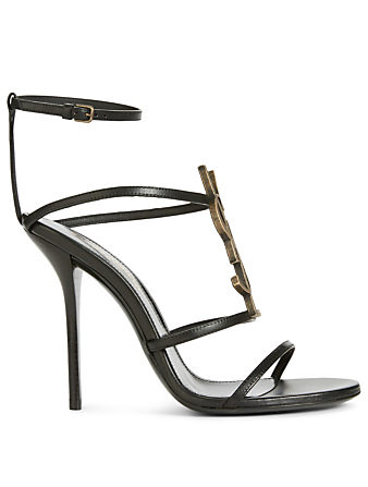 SAINT LAURENT Cassandra Leather Sandals With Logo Womens Black