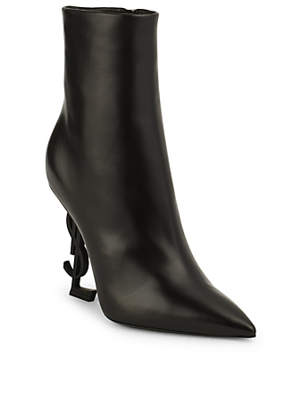 SAINT LAURENT Opyum Leather Ankle Boots With Logo Womens Black