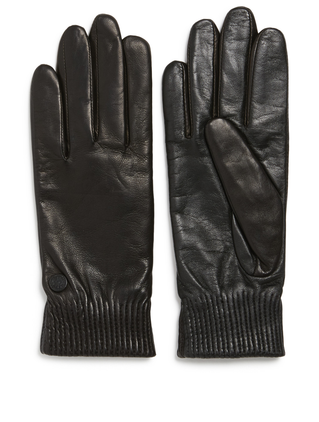 CANADA GOOSE Ribbed Leather Gloves Women's Black
