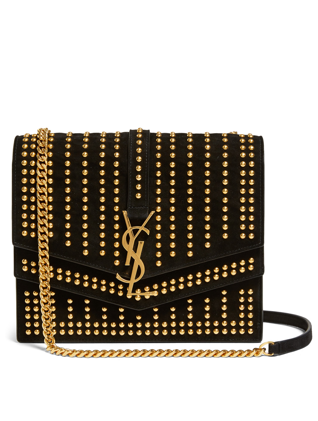 SAINT LAURENT PARIS Medium Monogram Sulpice Suede Chain Bag With Studs Womens Black