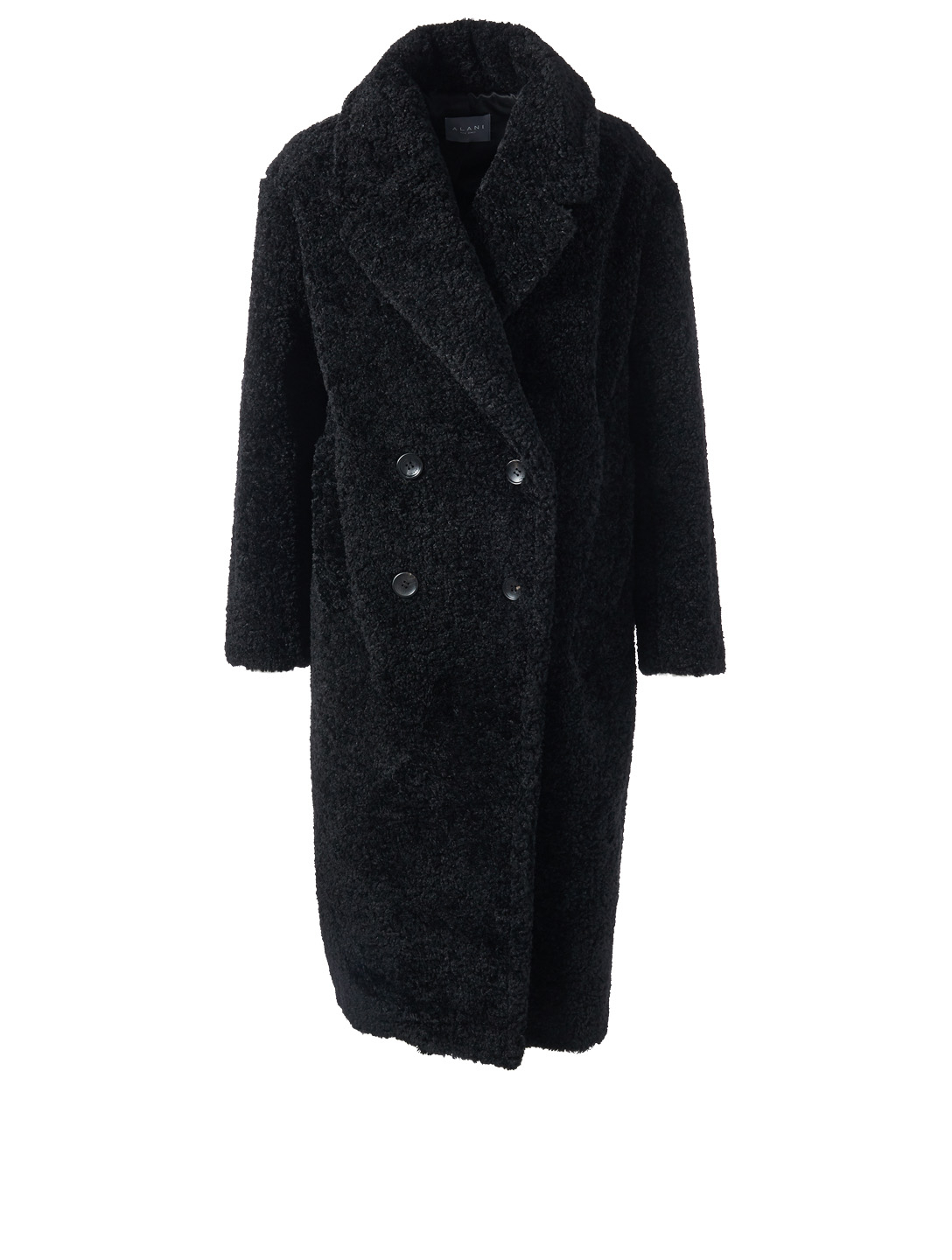 ALANI Double-Breasted Boucle Coat Womens Black