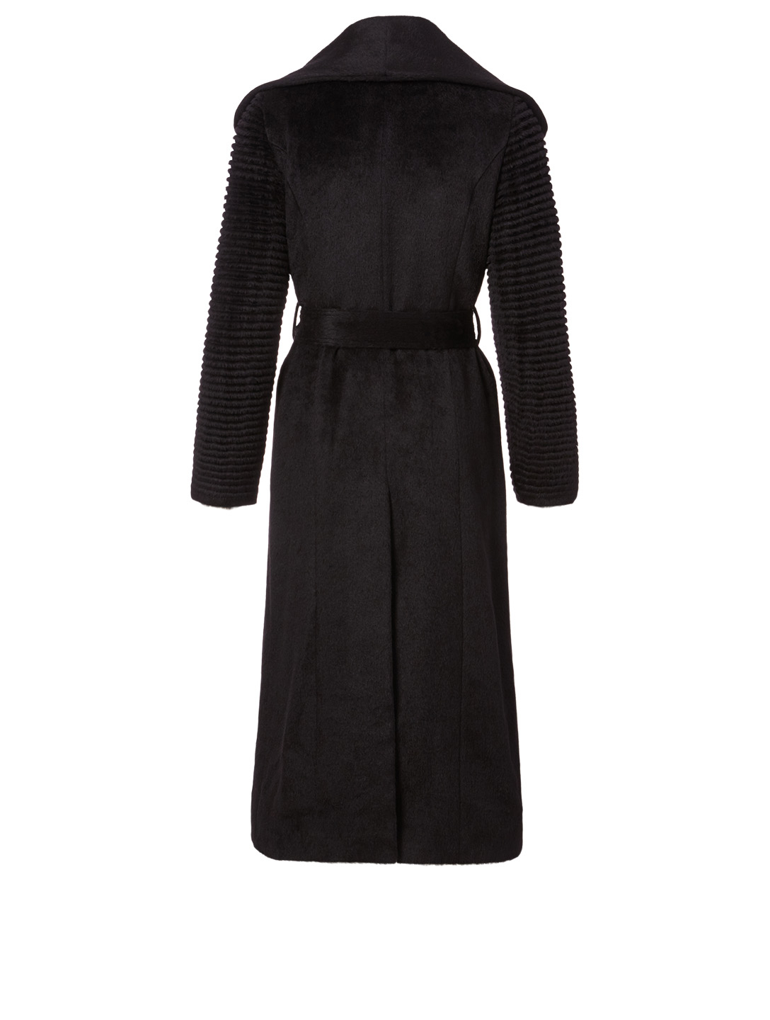 SENTALER Alpaca Long Coat with Ribbed Sleeves Women's Black