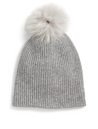 WHITE & WARREN Cashmere Toque With Pom-Pom Collections Grey