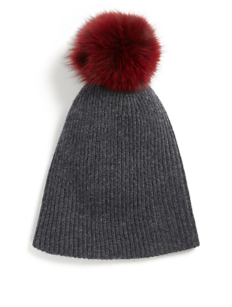 WHITE & WARREN Cashmere Toque With Pom-Pom Womens Grey
