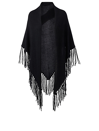 WHITE & WARREN Cashmere Triangle Wrap With Fringe Womens Black
