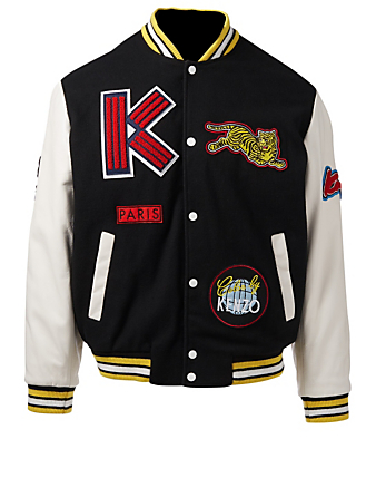 KENZO Varsity Jacket With Patches Men's Black