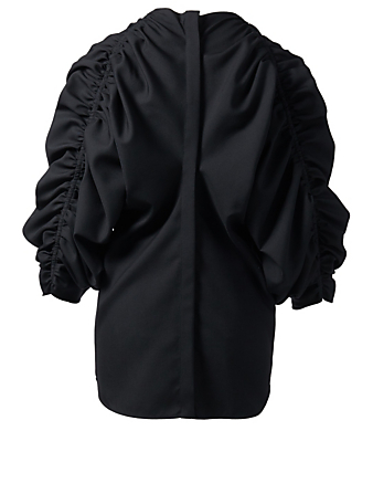 JIL SANDER Faustine Wool Blouse With Ruched Sleeves Womens Black