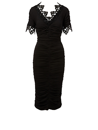 DOLCE & GABBANA Ruched Midi Dress With Lace Trim Womens Black