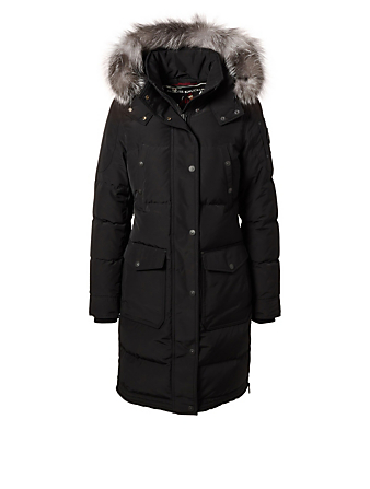 MOOSE KNUCKLES Salmon River Parka With Fur Trim Womens Black