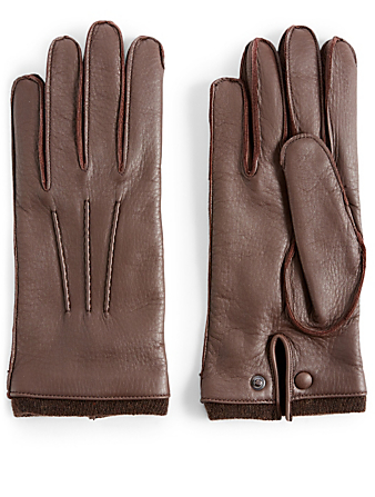 PORTOLANO Deerskin Gloves With Ribbed Cuffs Men's Brown