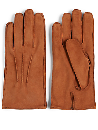 PORTOLANO Suede Gloves Men's Brown