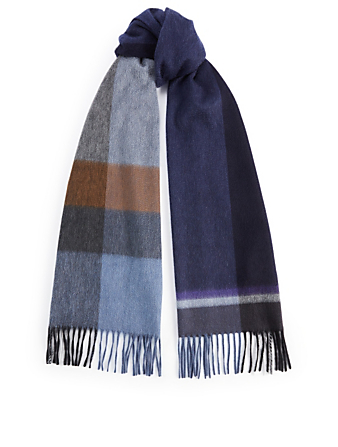 BEGG & CO Arran Stack Cashmere Scarf In Check Men's Blue