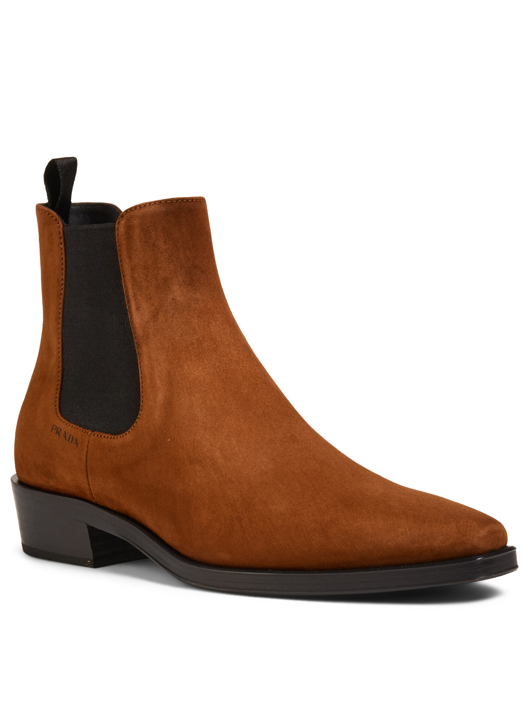 ... PRADA Classic Suede Chelsea Boots Womens Brown ... 4f21556243