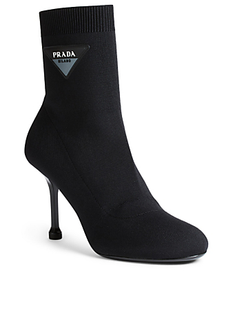 PRADA Heeled Sock Boots With Logo Womens Black