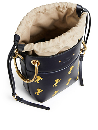CHLOÉ Mini Roy Leather Bucket Bag With Horse Print Women's Blue