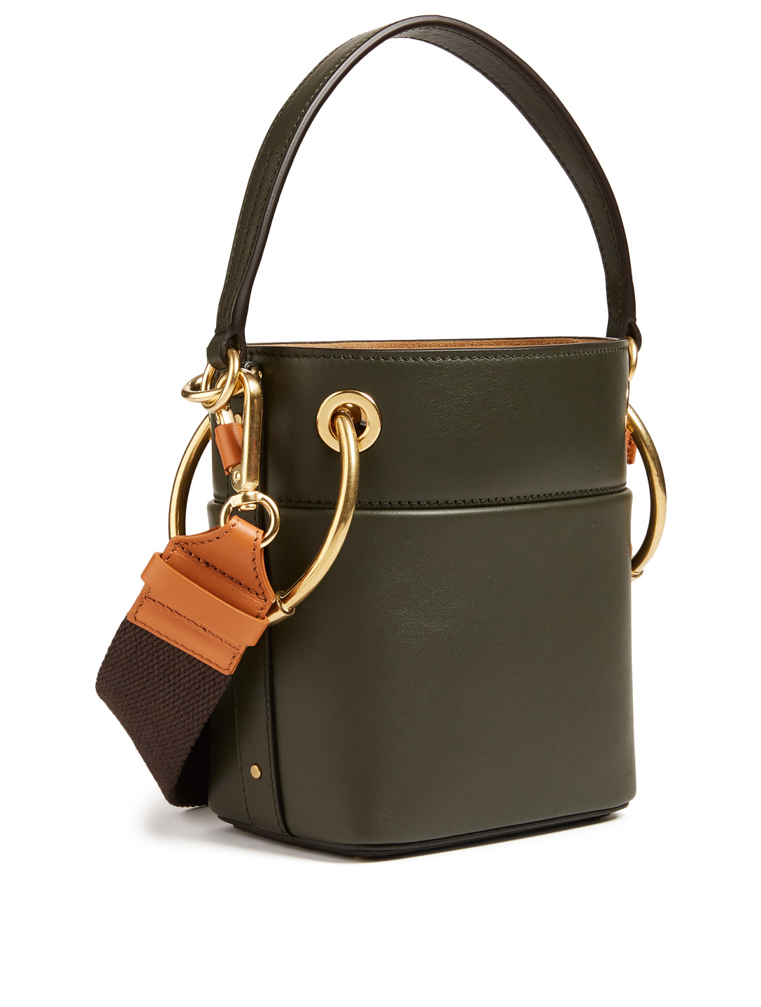 CHLOÉ Mini Roy Leather Bucket Bag Women's Green