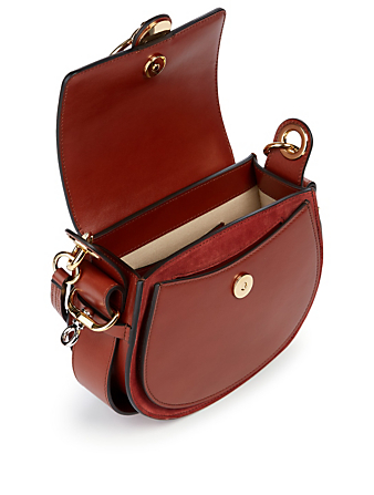 CHLOÉ Small Tess Leather And Suede Saddle Bag Women's Bronze