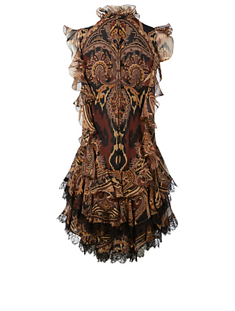 ETRO Silk Crepe Ruffled Dress In Paisley Print Womens Brown