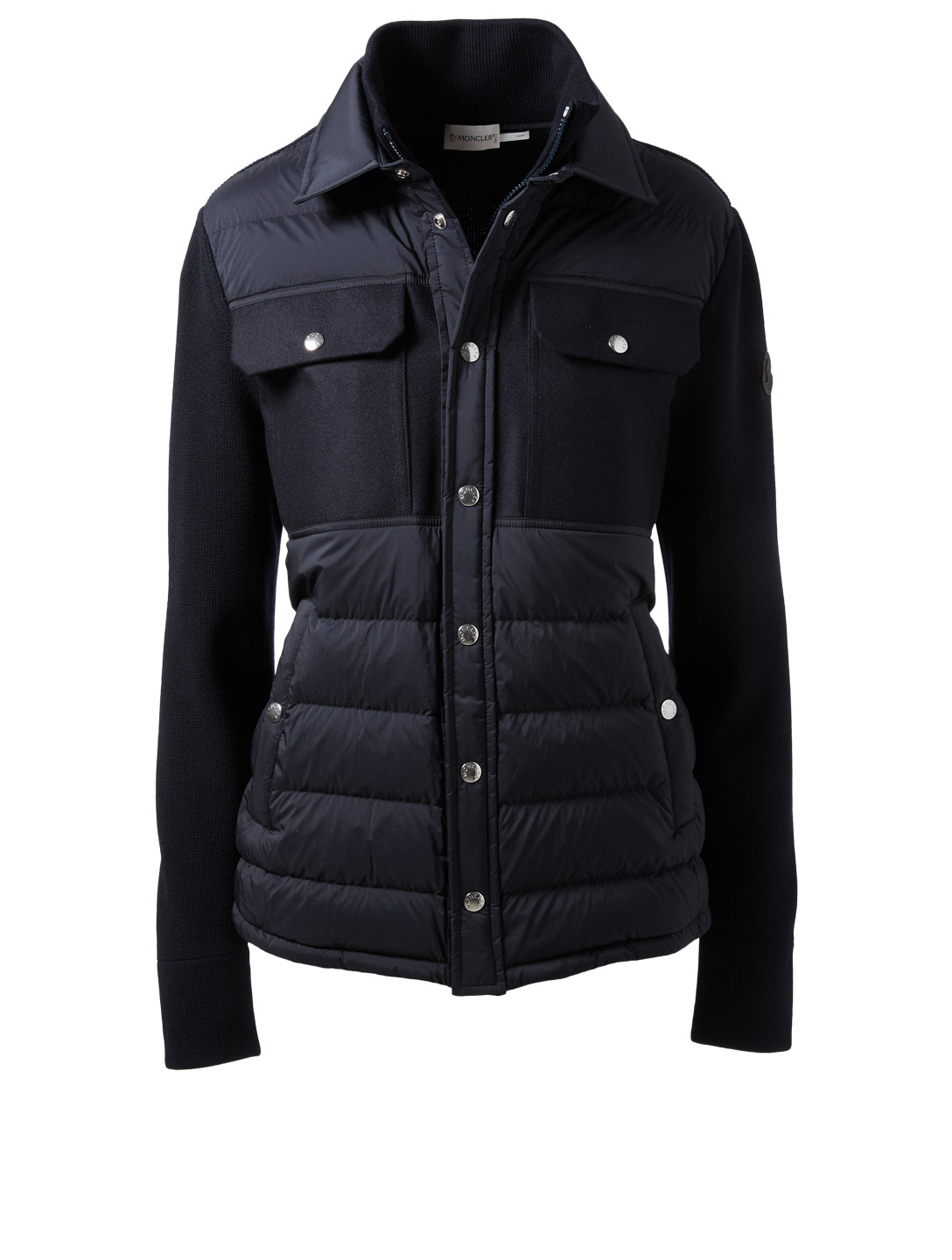 MONCLER Mixed Media Down Jacket Designers Blue