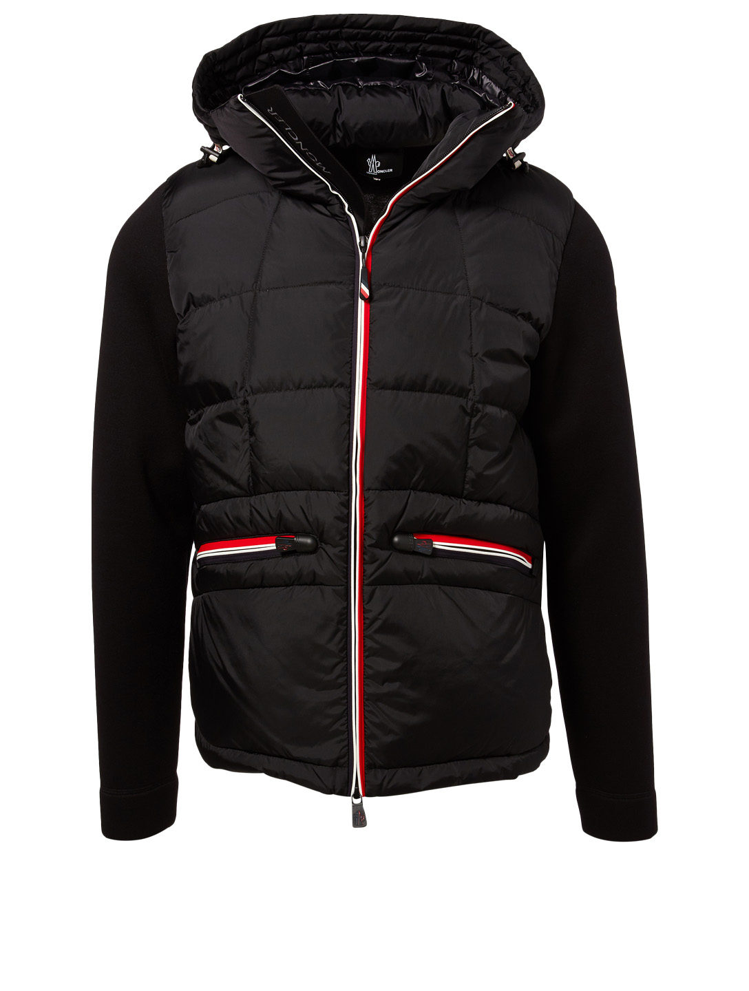 MONCLER GRENOBLE Mixed Media Down Cardigan Designers Black
